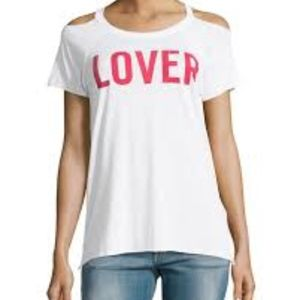 Chaser Lover Cold-Shoulder Graphic Tee White Small